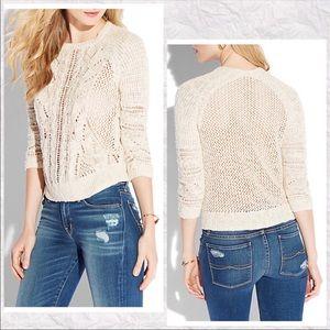 Lucky Brand Beige Ivy Mixed Stitch Sweater XL